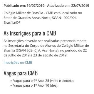 Vagas CMB 2019